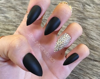 Matte black stiletto press on nails, rhinestones