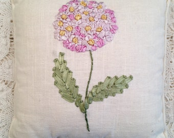 Ribbon Embroidery Pillow - White Linen - Cottage Style Decor - Vintage Embroidery Pillow - Pink Green Yellow