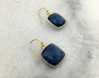Sapphire Quartz Faceted Genuine Natural AAA Square Bezeled in 18K Gold Vermeil Dangle Drop with 14k Gold Filled Ear Wire Earrings