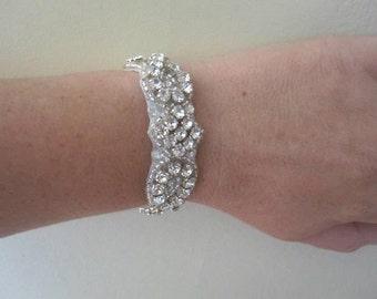 Elena Wedding Bridal Rhinestone Crystal Bracelet Cuff with Button Closure