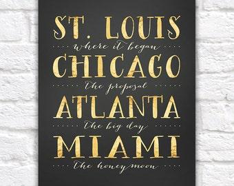 City Typography Print, Custom Locations, Wedding Gift,  Print, Where we met, Where he proposed, Where we married, Honeymoon Travel | WF280