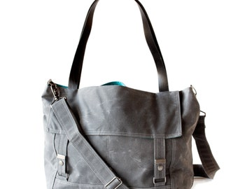 The Letter Bag in Gray and Teal waxed canvas