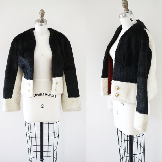 1960s black and white cocktail coat //faux fur coat // vintage coat
