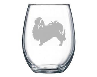 Japanese Chin Wine Glass - Chin Dog Gift - Japanese Chin Owner Gift - Japanese Chin Glass - Dog Lover Gift - Dog Wine Glass - Canine Wine