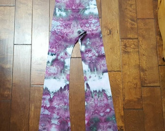 Yoga Pants, Medium Size, Womens yoga pants, Tie Dye Yoga Pants, Royal Apparel, Cotton Boho Pants, Bohemian, Festival pants, workout pants