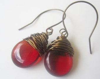 Red Earrings Wire Wrapped Earrings July Birthstone Earrings Wire Wrapped Jewelry Handmade Drop Earrings Red Jewelry