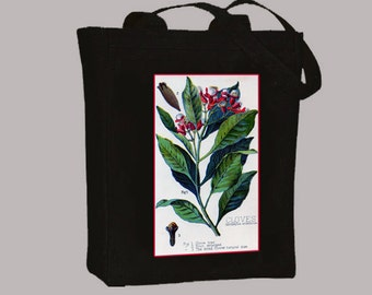 Gorgeous Vintage Clove Flower Illustration Canvas Tote, Selection of sizes available