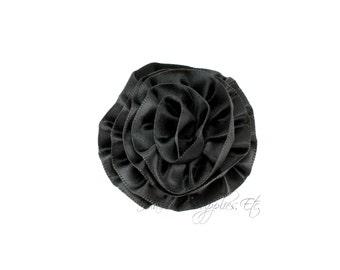 Black Rose Ruffle Silk Flowers 2 inch - Black Flowers, Black Hair Flowers, Black Silk Flower, Black Flowers For Hair, Black Hair Accessories