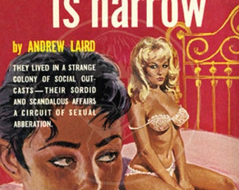 Every Bed Is Narrow - 10x15 Giclée Canvas Print of Lesbian Pulp Paperback