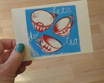 linocut letterpress card Let's Do Tea
