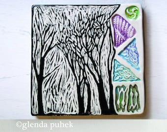 "Sgraffito Ceramic Wall Art Tile - Handmade Tree Tile 6"" square black and white tree drawing ©Glenda Puhek - ""November"""