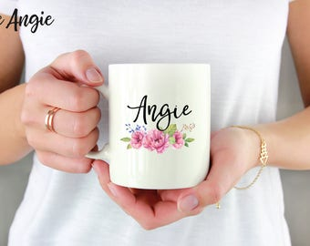 Custom Name Mug, Personalized Mug, Floral Name Mug