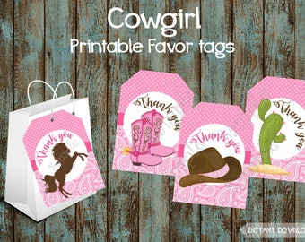Cowgirl Favor Tags, Cowgirl Party Favor tags, Cowgirl Birthday