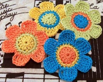 Crocheted Flower Appliqués