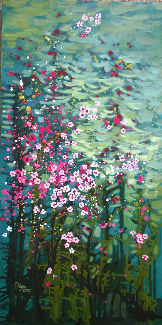 """AND SPRING AGAIN 20x39"""" oil on canvas, four seasons, floral wall decor, original painting by Nguyen Ly Phuong Ngoc"""