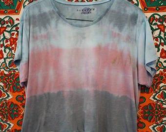 Flowy Color-blocked Tie-Dye Crop Top
