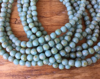 Turquoise green picasso finish 4mm smooth round druk czech glass beads