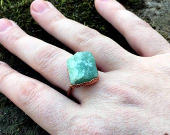 Green Aventurine Ring, Size 7 Ring, Electroformed Jewelry, Stone Ring, Gemstone Jewelry, Aventurine Jewelry, copper ring, boho ring, hippie