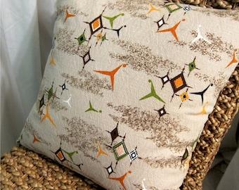 "Atomic Mid Century Modern Pillow Cover - Vintage Barkcloth - Orange, Green, Brown, Taupe - 17"" x 17"""