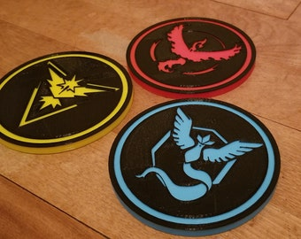 Pokemon Go Team 3D Printed Coasters: Valor Instinct and Mystic