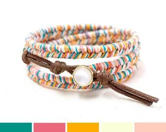 Summer Wrap Bracelet, Summer Bracelet, Summer Jewelry, Colorful Bracelet, Hippie Bracelet, Stackable Bracelet, Beach Jewelry Women, Rainbow