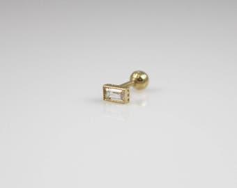 14K Solid gold baguette cz earring, tiny bar earring, 14K minimalist earring, cartilage,helix,conch,lobe, square rectangle cz, dainty stud,