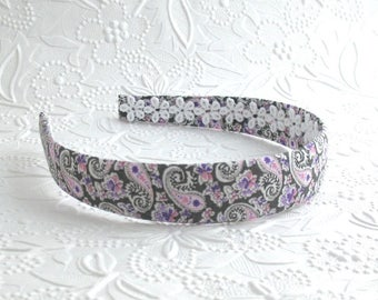 Girls Headband ~ Fabric Headband ~ Adult Headband ~ Hard Plastic Fabric Covered Headband - Purple & Pink Paisley Fabric Headband