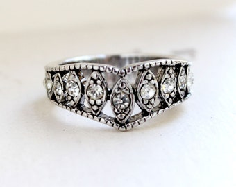 Vintage Edwardian Style Ring Antique 18k White Gold Electroplat Clear Swarovski Crystals  Made in USA #R1288