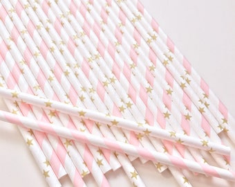 Pink and Gold Star Straws, Twinkle Twinkle Little Star Party Decor, Gold and Pink First Birthday, Baby Shower Decor, Bridal Shower Decor