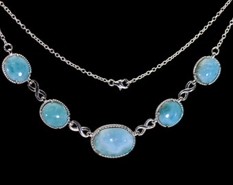 LARIMAR NECKLACE. 100% Natural. Center,18X13mm And Four 12X0mm 925 Sterling Silver