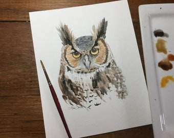 Great horned owl watercolor print 8.5x11""