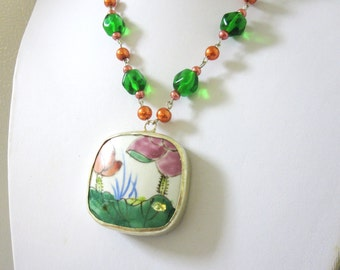 Flowers Pottery Shard Necklace Green Pink Coral Porcelain Pendant