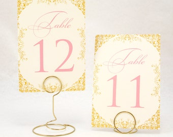 Gold, Blush Pink and Ivory Wedding Table Number Cards