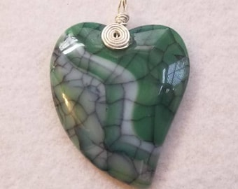 Pendant Made of Dragon Vein Agate Stone, the Stone is Green and White with the Veins being Black w/Faux Suede Necklace