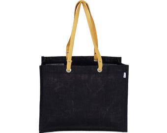 MIWOK Extra Large and Wide Black Jute / Hessian eco friendly Reusable Shopping Grocery Tote Bag