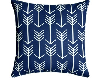 Navy Arrow Pillow, Navy and White Arrows Throw Pillow Cover, Boys Room Decor, Decorative Pillows, Blue Nursery Decor, Navy Tribal Pillow