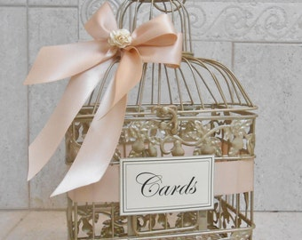 Wedding baskets boxes etsy champagne gold and blush wedding card box wedding card holder birdcage card holder solutioingenieria Images
