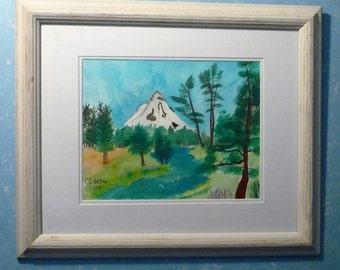 "Head of the Metolius en plein aire watercolor CC Willow original 11X14"""