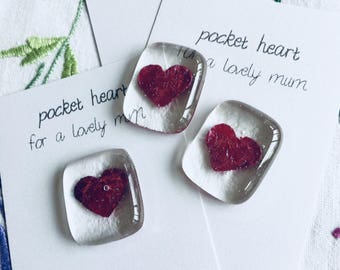 Mother's Day keepsake personalised  pocket heart glass