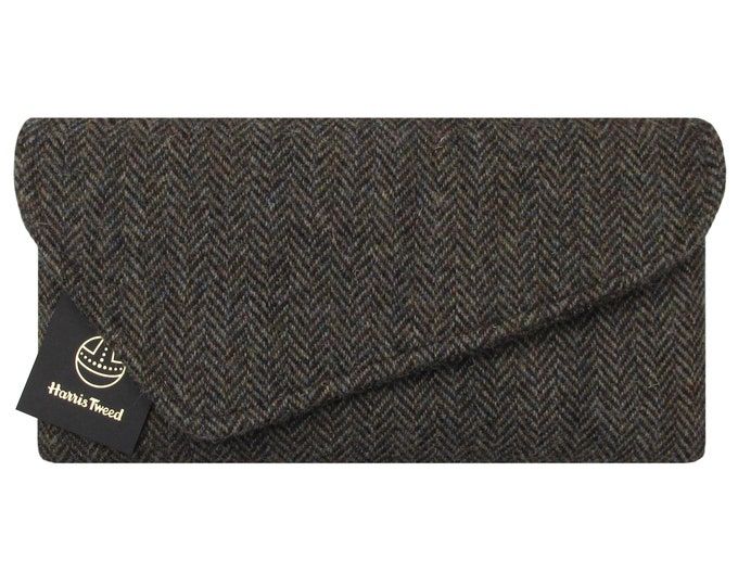 Harris Tweed Asymmetric Woodland Brown Herringbone Clutch Bag with Wild Horses Lining