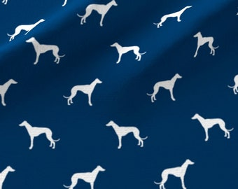 Greyhound Fabric - Navy Blue White Dog Whippet Italian greyhound Silhouette By Petfriendly - Cotton Fabric By The Yard With Spoonflower