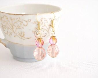 earrings peach champagne romantic spring earrings, sparkly earrings, gold niobium earrings