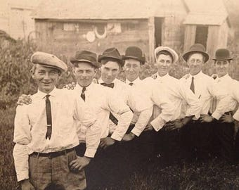 ON SALE Vintage Antique RPPC Real Photo Postcard Men in Hats Bowler Bow Ties