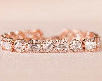 Rose gold Bridal Bracelet, Crystal wedding Bracelet, Gold, Silver, Bridal Jewelry, Swarovski wedding jewelry, Julienne Bridal Bracelet
