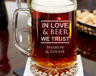 In Love and Beer We Trust Personalized 15 oz Beer Mug - Wedding Gifts-Holiday Gifts -Birthday Gifts - Wedding Favor (JM6460764-15-533311)