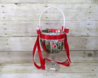 Red True Timber Camo Flower Girl Basket, Red and White Wedding Basket, Camo Flower Girl Basket, Red Petal Basket, Red Flower Girl Basket