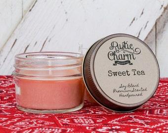 Sweet Tea Scent Candle 4 oz Mini Mason Jar Rustic Charm