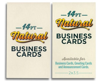 250 business cards - 14 pt light cream uncoated cover stock - recycled, natural environment-friendly - custom printed
