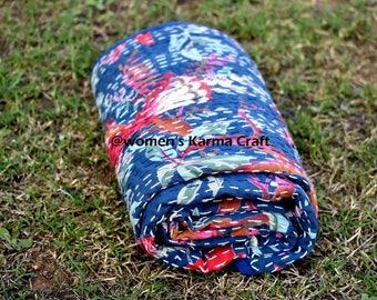 Blue bird Indian handmade kantha baby quilt, kantha baby blanket, sari blanket, blanket, baby shower gift,kids bedding, kantha quilt gift