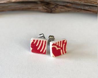 Paperclay, paper earrings, stud earrings, stainless steel